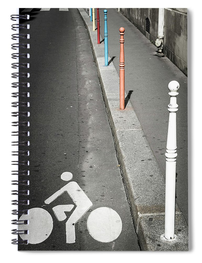 Pole Spiral Notebook featuring the photograph Bicycle Symbol In Paris by Carlos Sanchez Pereyra