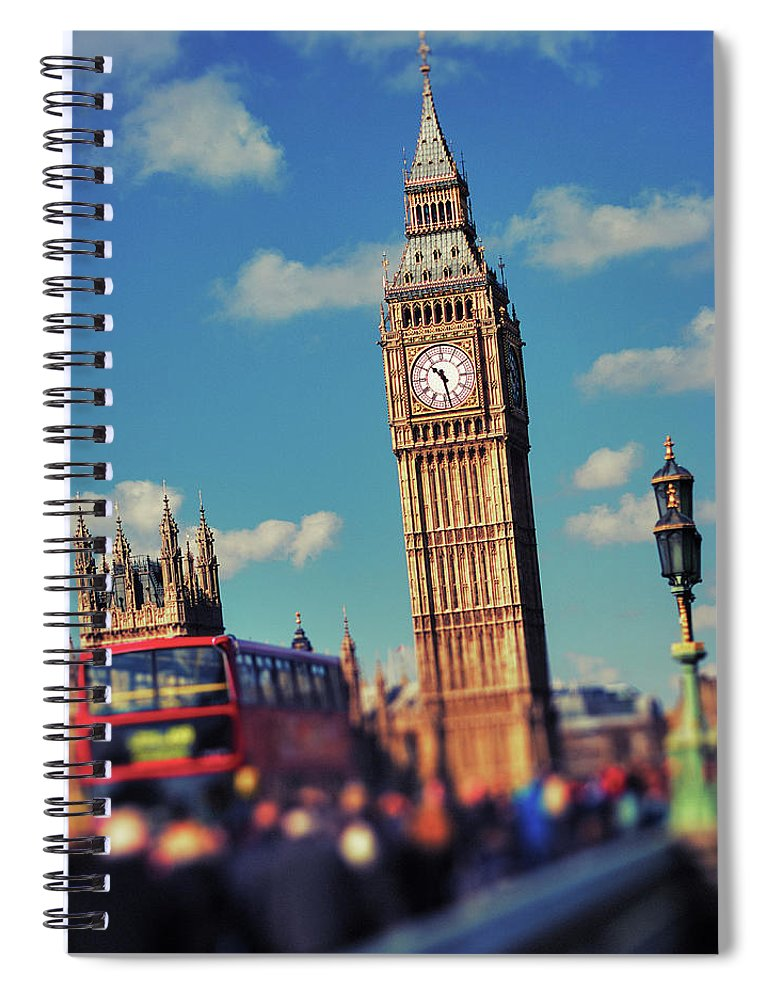 Clock Tower Spiral Notebook featuring the photograph Big Ben And Commuter Traffic by Doug Armand