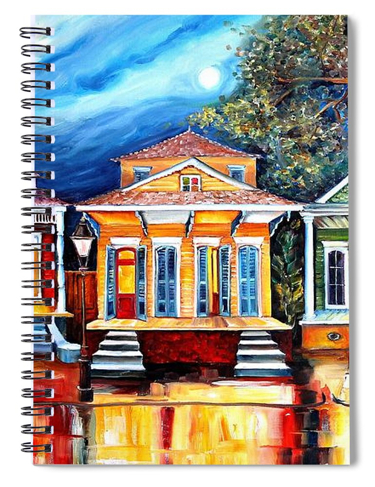 New Orleans Spiral Notebook featuring the painting Big Easy Shotguns by Diane Millsap