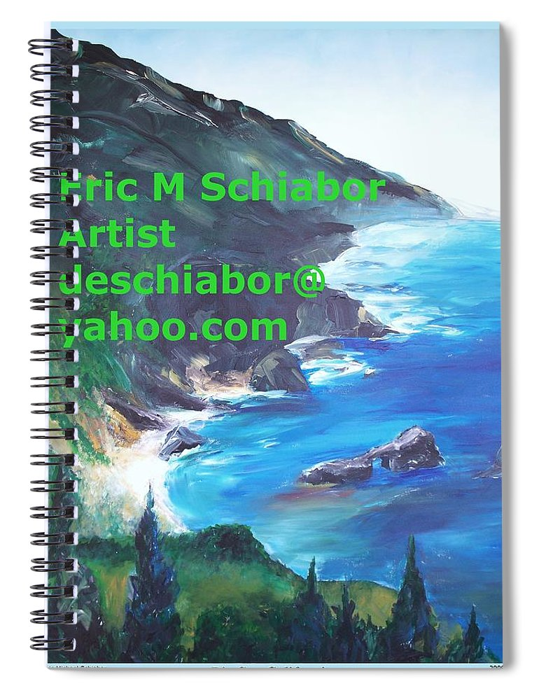 Big Sur Spiral Notebook featuring the painting Big Sur Califorina by Eric Schiabor