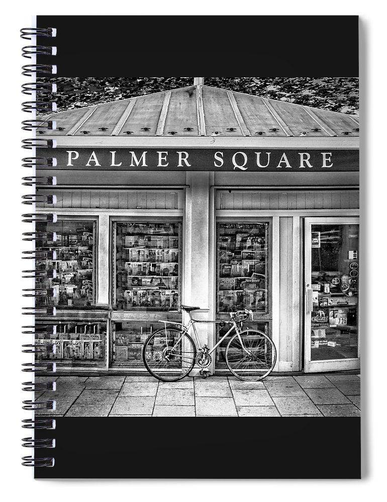 Bicycle Spiral Notebook featuring the photograph Bike At Palmer Square Book Store In Princeton by Ben and Raisa Gertsberg