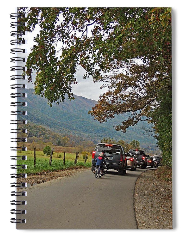Photograph Spiral Notebook featuring the photograph Biking Thru Cades Cove by Marian Bell