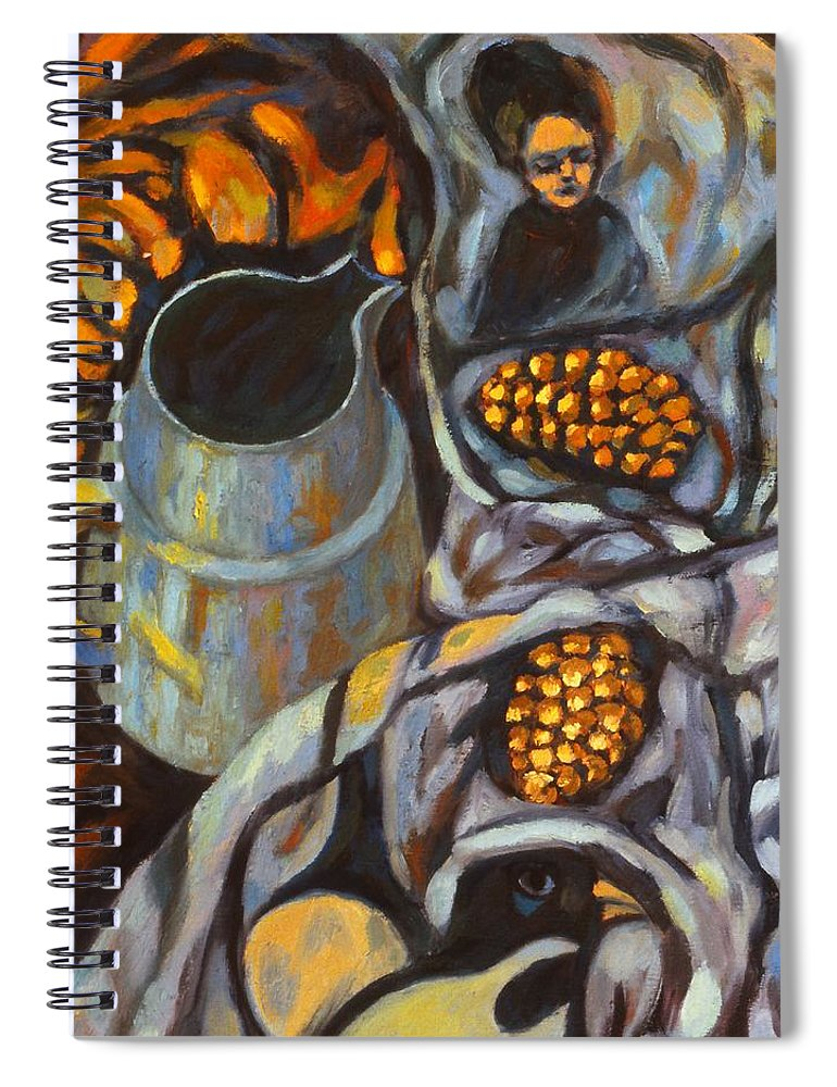 Still Life Spiral Notebook featuring the painting Bird Scarf by Kendall Kessler