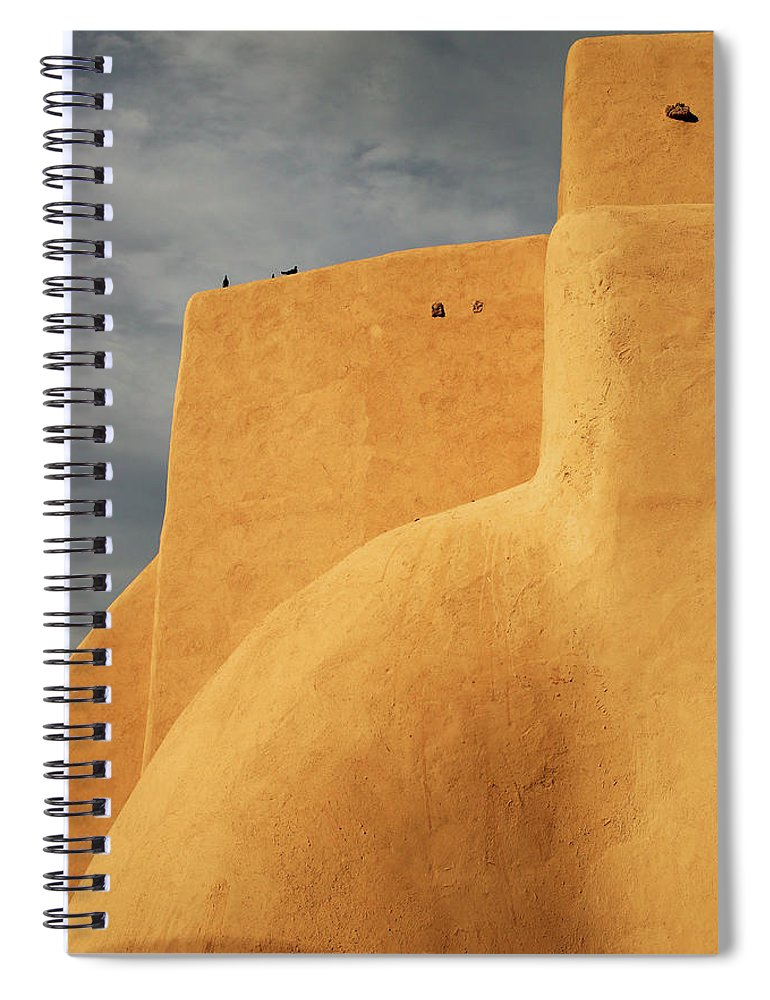 Built Structure Spiral Notebook featuring the photograph Birds Perched On A Yellow Building by Win-initiative