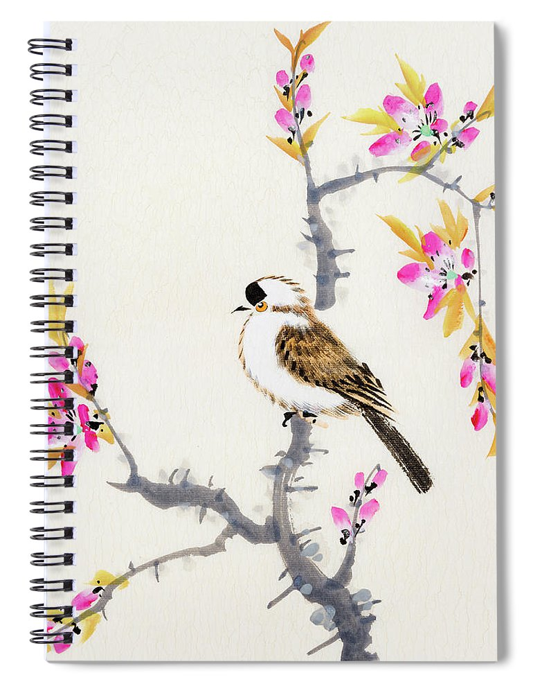 Chinese Culture Spiral Notebook featuring the digital art Birds by Vii-photo
