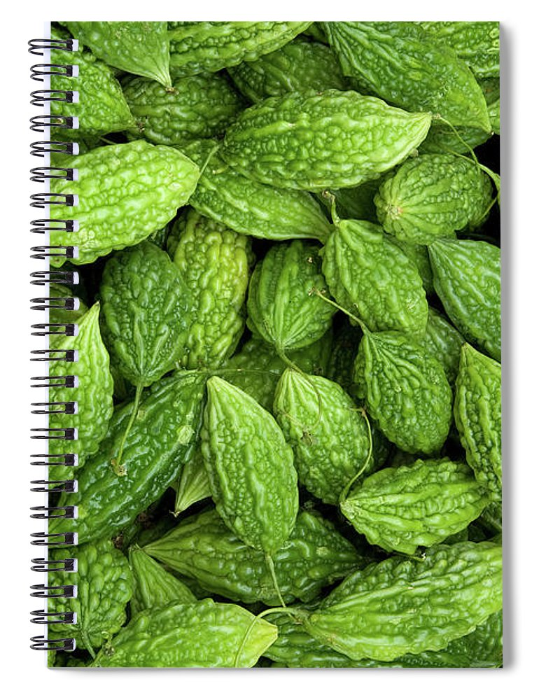 Green Spiral Notebook featuring the photograph Bitter Melons by Rick Piper Photography