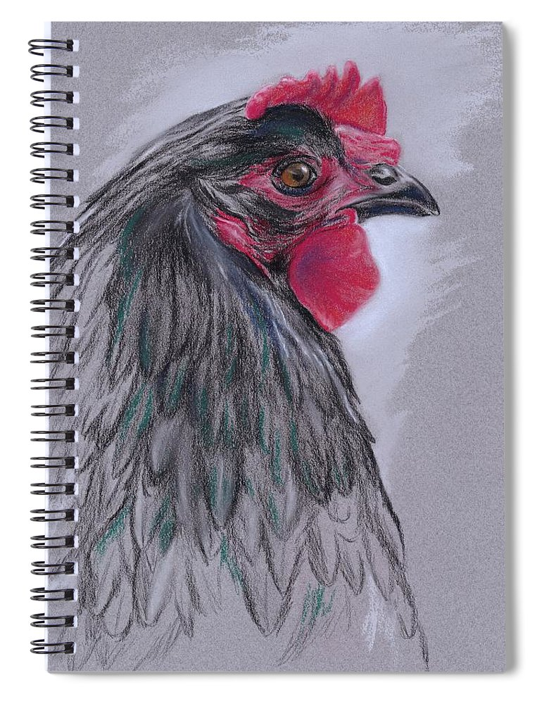 Hen Spiral Notebook featuring the pastel Black Australorp Hen by MM Anderson