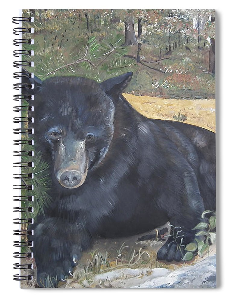 Black Bear Spiral Notebook featuring the painting Black Bear - Wildlife Art -scruffy by Jan Dappen