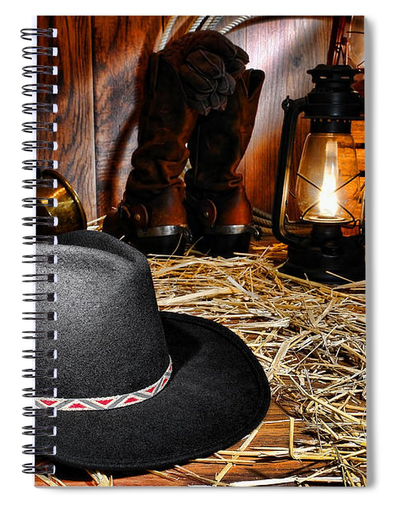 Western Spiral Notebook featuring the photograph Black Cowboy Hat In An Old Barn by Olivier Le Queinec