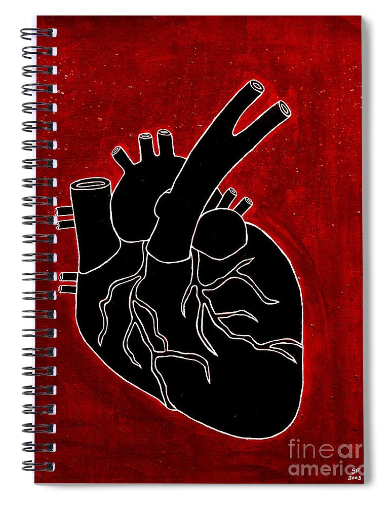 Spiral Notebook featuring the painting Black Heart by Stefanie Forck