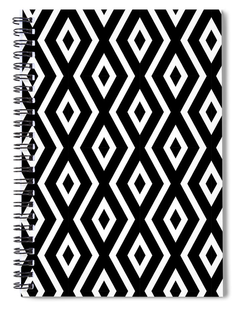 Black And White Spiral Notebook featuring the mixed media Black and White Pattern by Christina Rollo