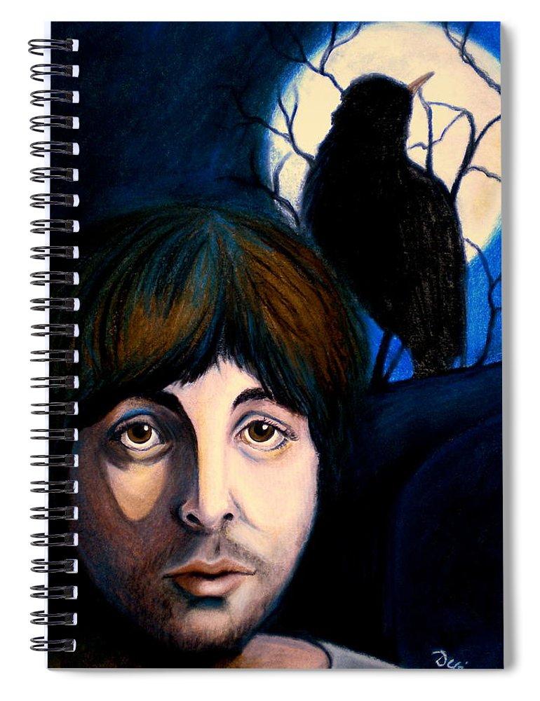Paul Mccartney Spiral Notebook featuring the painting Blackbird by Debi Starr