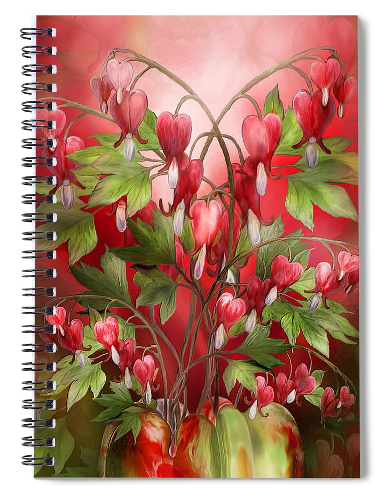 Bleeding Hearts Bouquet Spiral Notebook for Sale by Carol Cavalaris