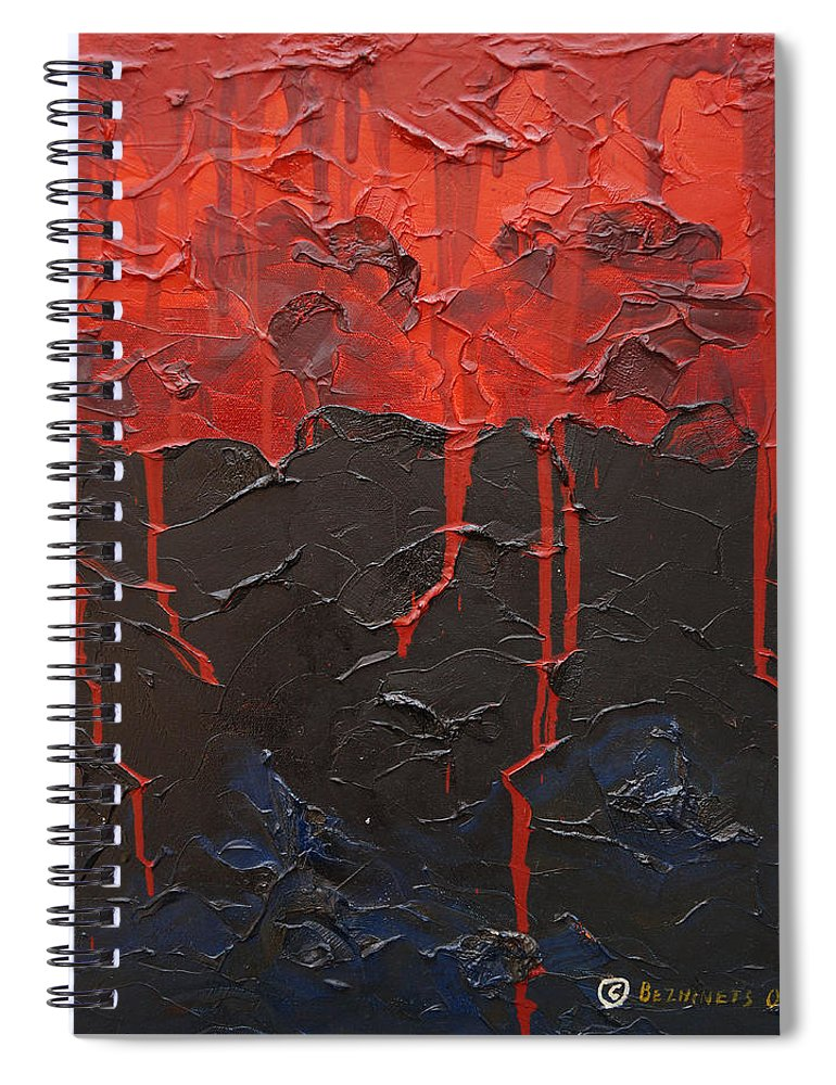 Fantasy Spiral Notebook featuring the painting Bleeding sky by Sergey Bezhinets