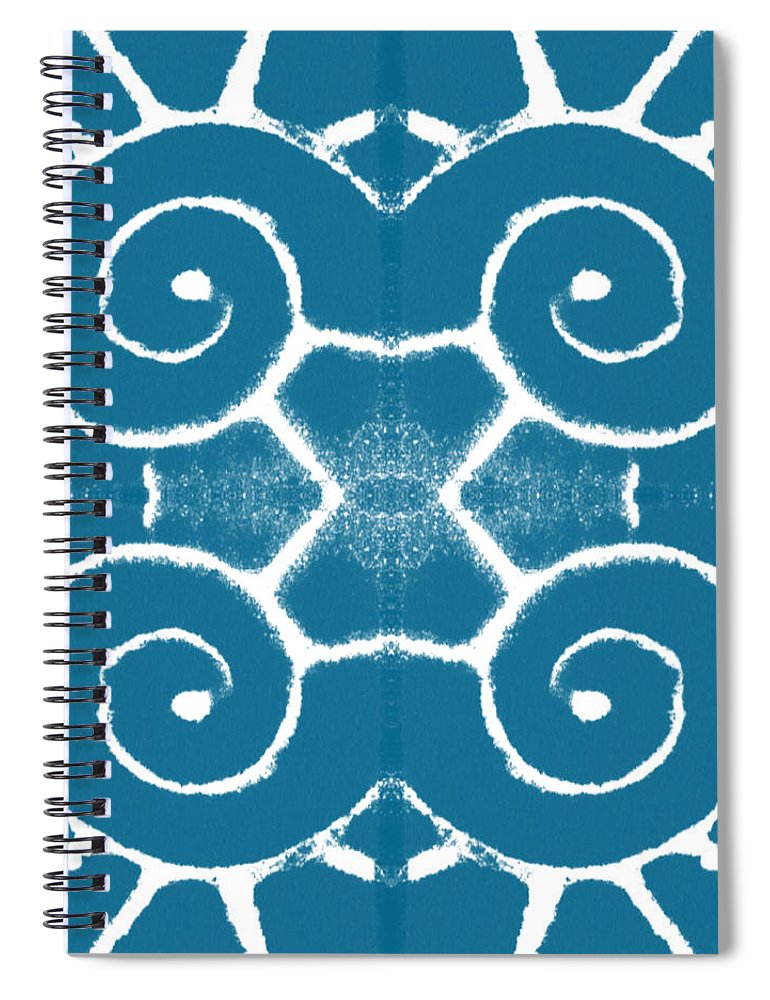 Wave Spiral Notebook featuring the painting Blue and White Wave Tile- abstract art by Linda Woods