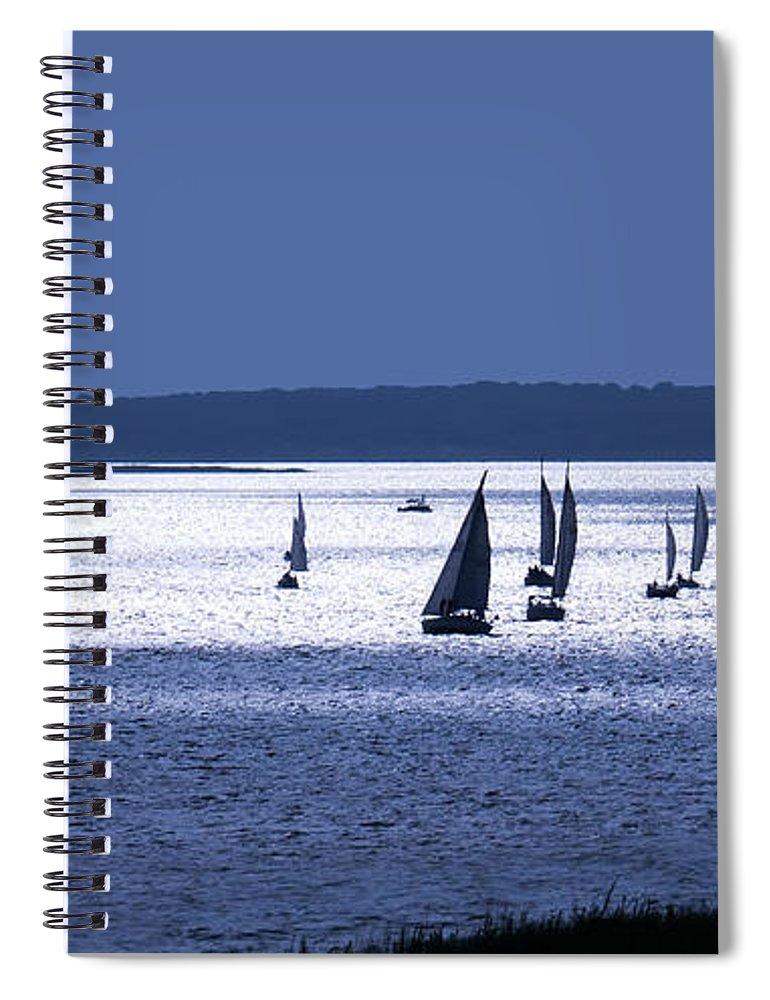 Sailing Spiral Notebook featuring the digital art Blue Armada II by Douglas Pittman