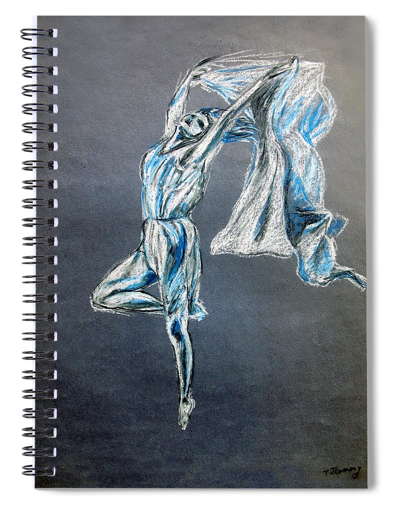 Ballet Spiral Notebook featuring the drawing Blue Ballerina dance art by Tom Conway