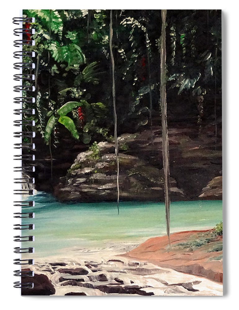 Tropical Waterfall Spiral Notebook featuring the painting Blue Basin by Karin Dawn Kelshall- Best