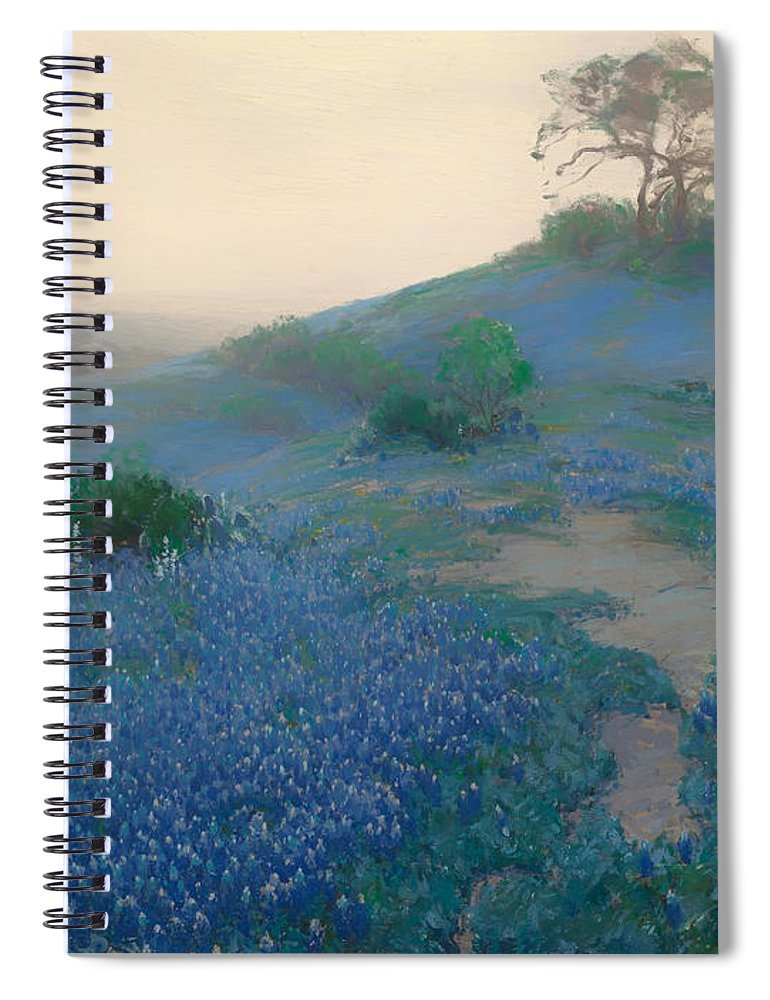 San Antonio Spiral Notebook featuring the painting Blue Bonnet Field In San Antonio by Mountain Dreams