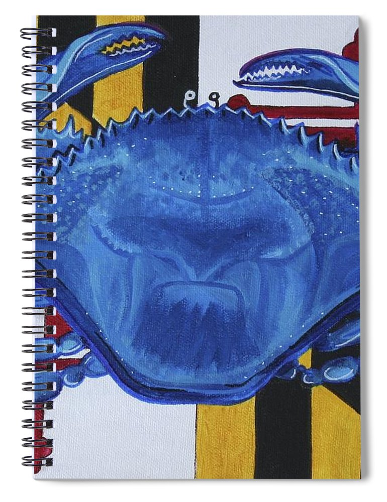 Maryland Spiral Notebook featuring the painting Blue Crab by Kate Fortin
