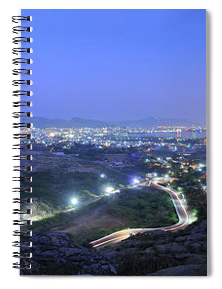 Scenics Spiral Notebook featuring the photograph Blue Hour Ajmer City Panorama by Nimit Nigam
