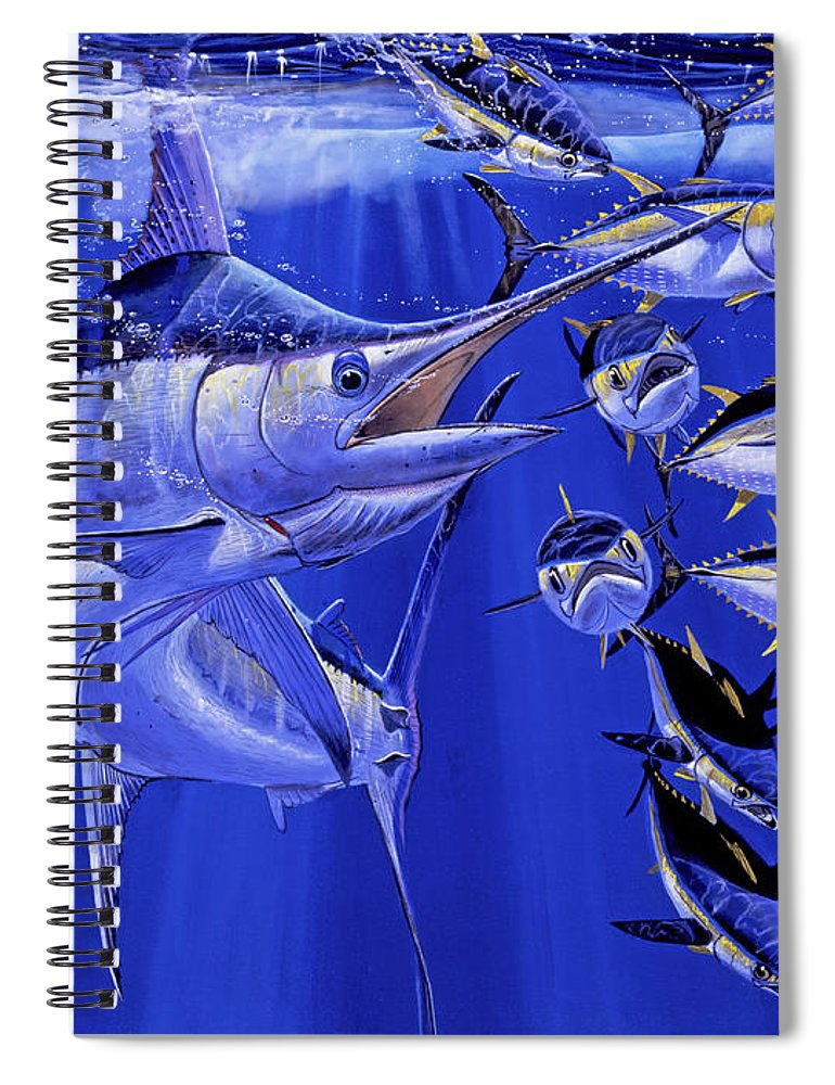 Blue Marlin Spiral Notebook featuring the painting Blue Marlin Round Up Off0031 by Carey Chen