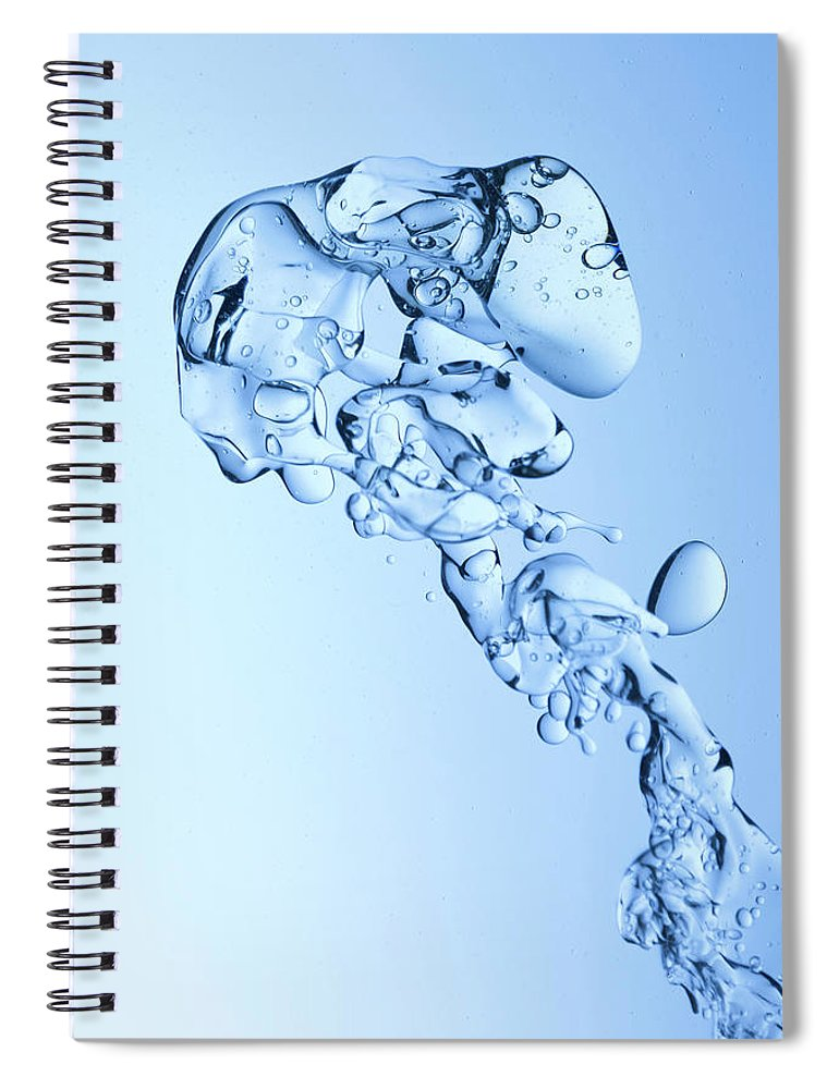Yellow Spiral Notebook featuring the photograph Blue Oil Water Background by Grafissimo