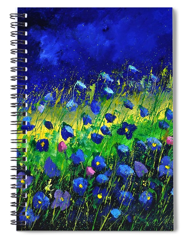 Landscape Spiral Notebook featuring the painting Blue poppies 674190 by Pol Ledent