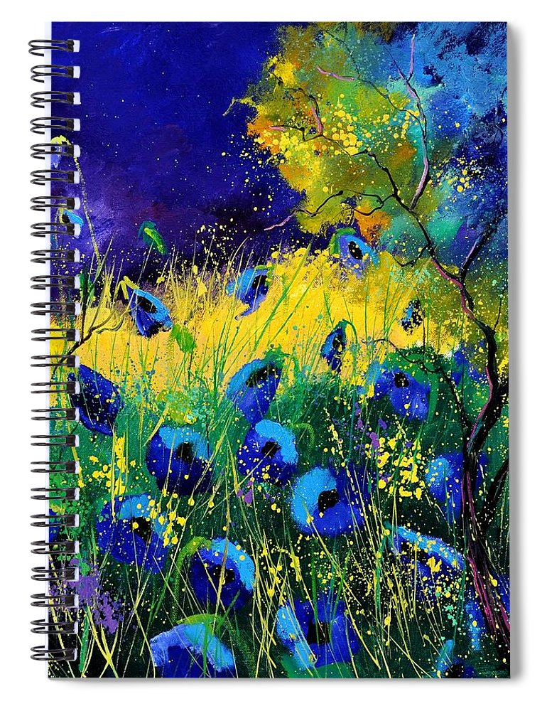 Landscape Spiral Notebook featuring the painting Blue poppies 7741 by Pol Ledent