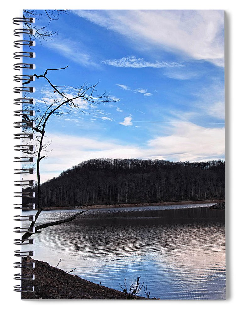 Landscape Spiral Notebook featuring the digital art Blue Skies Over Beech Fork Lake by Chris Flees