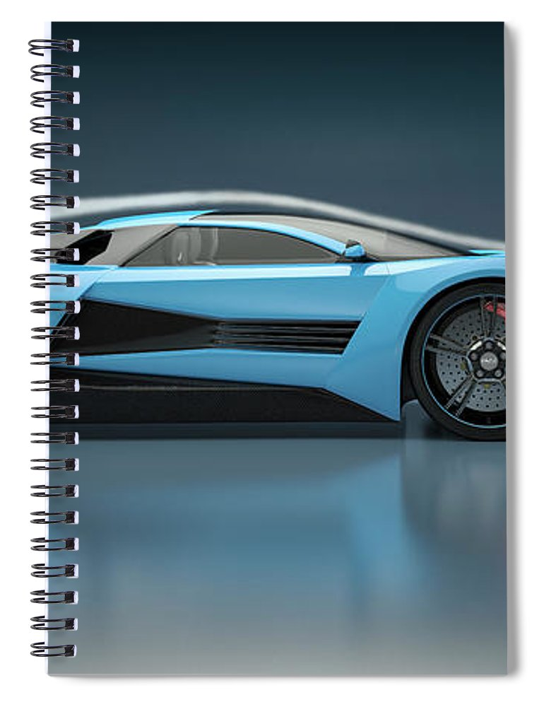 Aerodynamic Spiral Notebook featuring the photograph Blue Sports Car In A Wind Tunnel by Mevans