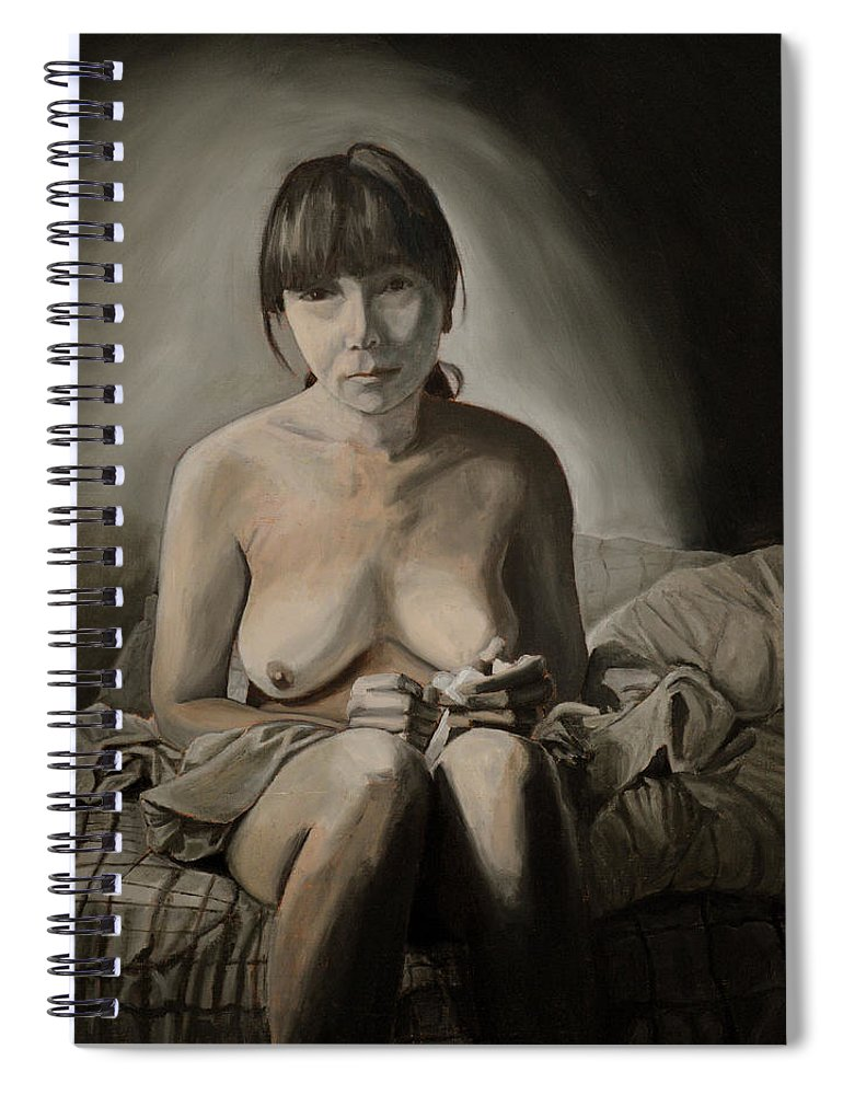 Portrait Spiral Notebook featuring the painting Blue by Thu Nguyen