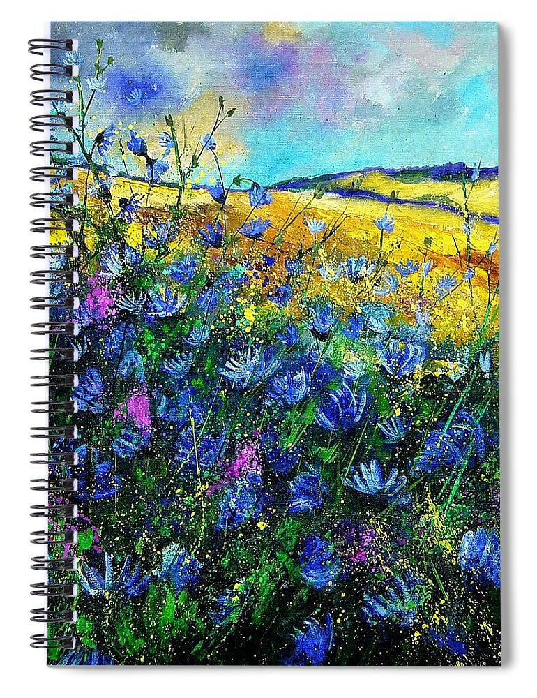 Flowers Spiral Notebook featuring the painting Blue wild chicorees by Pol Ledent