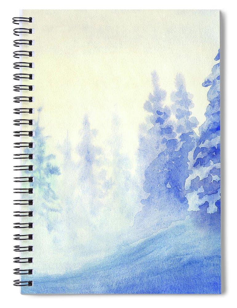 Art Spiral Notebook featuring the digital art Blue Winter by Pobytov