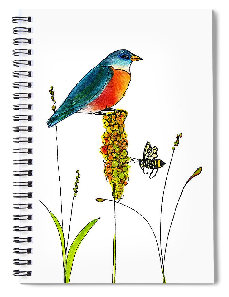 Bluebird Spiral Notebook featuring the painting Bluebird and Bee by Blenda Studio