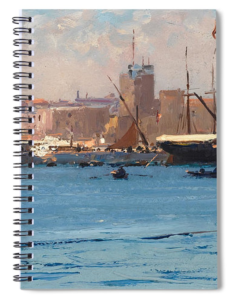 Fausto Zonaro Spiral Notebook featuring the painting Boats In A Port by Fausto Zonaro