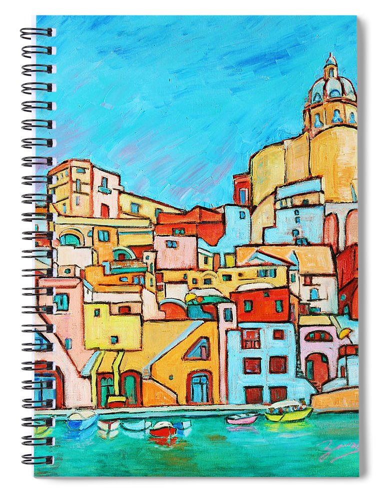 Campania Spiral Notebook featuring the painting Boats In Front Of The Buildings Vii by Xueling Zou