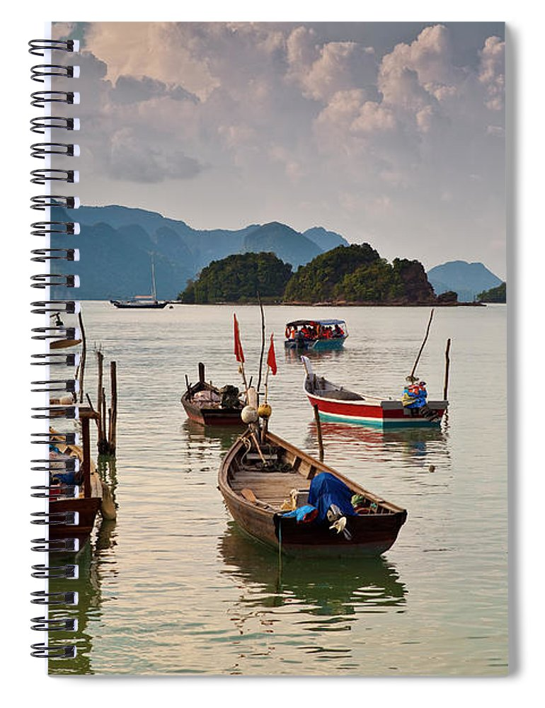 Southeast Asia Spiral Notebook featuring the photograph Boats Moored In Sea, Teluk Baru by Richard I'anson