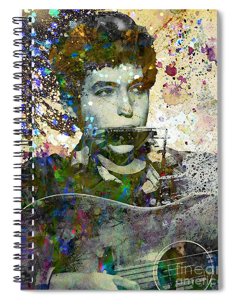 60s Spiral Notebook featuring the painting Bob Dylan Original Painting Print by Ryan Rock Artist