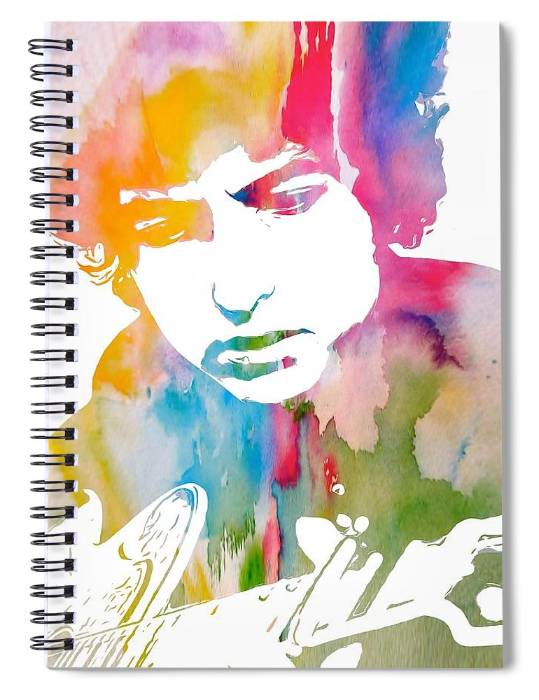 Bob Dylan Watercolor Spiral Notebook featuring the painting Bob Dylan Watercolor by Dan Sproul
