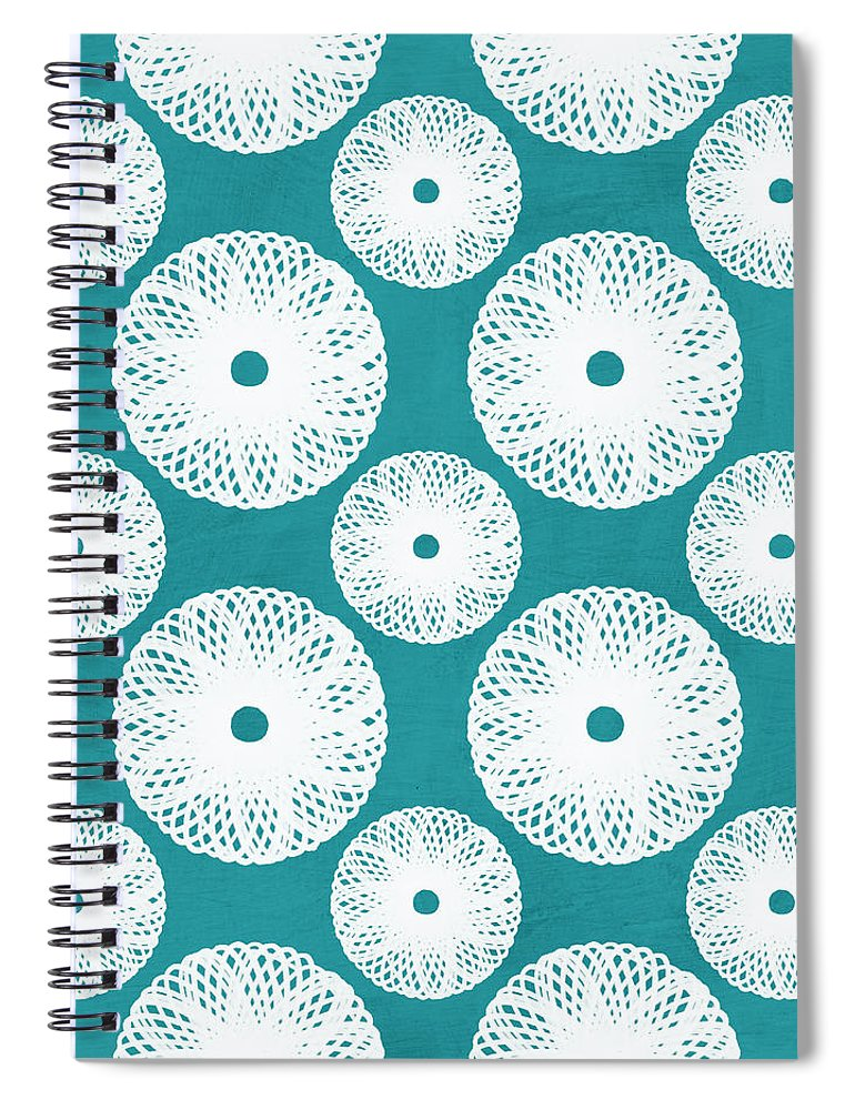 Boho Spiral Notebook featuring the mixed media Boho Floral Blue And White by Linda Woods