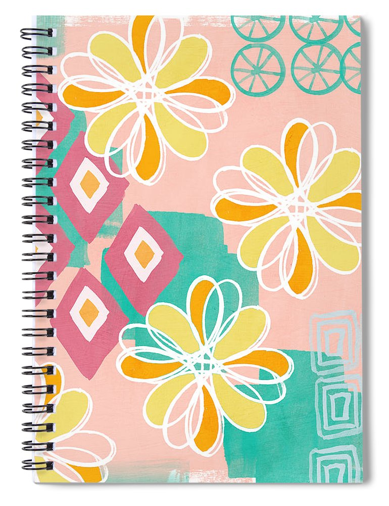 Pink Spiral Notebook featuring the painting Boho Floral Garden by Linda Woods