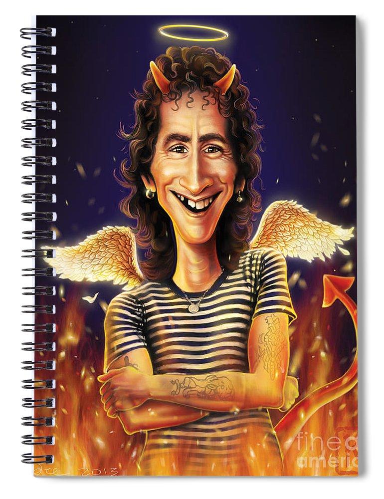 Bon Scott Spiral Notebook featuring the digital art Bon Scott by Andre Koekemoer