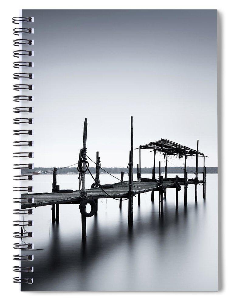 Tranquility Spiral Notebook featuring the photograph Bootssteg Im Alten Hafen Klein Zicker by Spreephoto.de