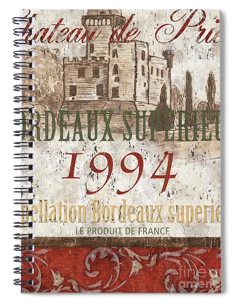 Wine Spiral Notebook featuring the painting Bordeaux Blanc Label 2 by Debbie DeWitt