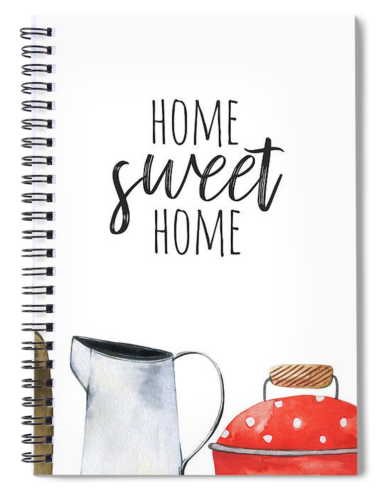 Watercolor Painting Spiral Notebook featuring the digital art Border With Kitchen Tools. Watercolor by Maria Mirnaya