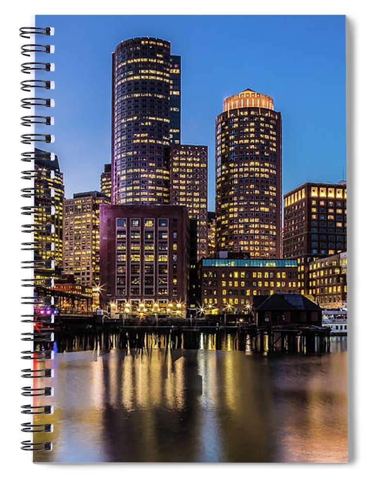 Downtown District Spiral Notebook featuring the photograph Boston Skyline At Sunset by (c) Swapan Jha
