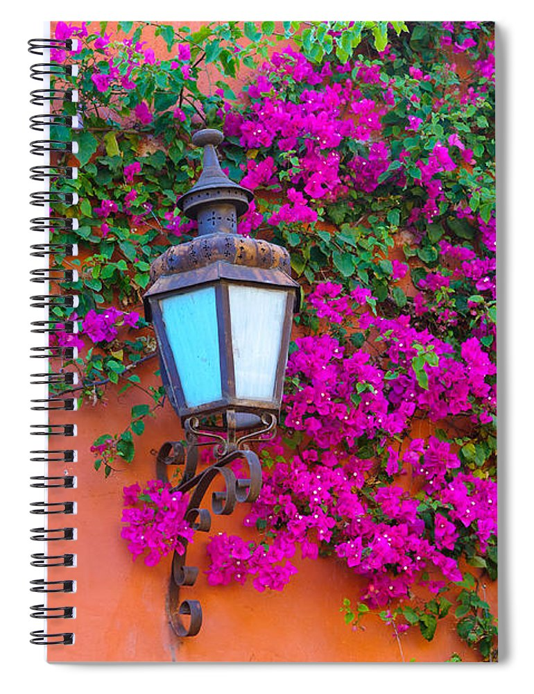 Travel Spiral Notebook featuring the photograph Bougainvillea And Lamp, Mexico by John Shaw