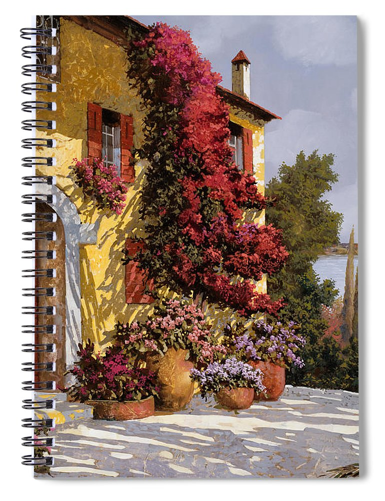 Bouganville Spiral Notebook featuring the painting Bouganville by Guido Borelli