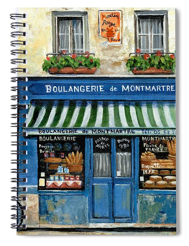 Europe Spiral Notebook featuring the painting Boulangerie De Montmartre by Marilyn Dunlap